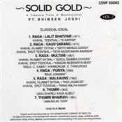 Solid Gold - Pandit Bhimsen Joshi Vol 2 Songs
