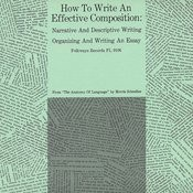 How To Write An Effective Composition: Narrative And Descriptive Writing; Organizing And Writing An Essay Songs